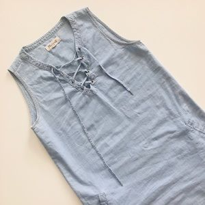 Madewell Chambray Denim Lace Up Shirt Dress